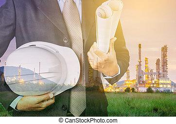 pétrochimique,  concept, industriel, propriété