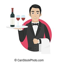 Waiter holds tray with wine and glasses - Illustration...