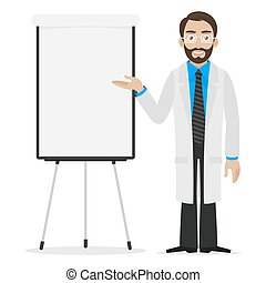 Scientist specifies on flip chart - Illustration scientist...