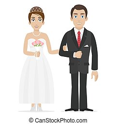 Groom and bride hold hands - Illustration groom and bride...