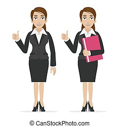 Business woman holds finger up - Illustration business woman...