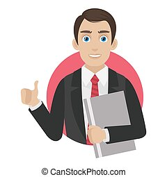Businessman shows thumb up in circle