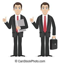 Businessman holds finger up - Illustration businessman holds...