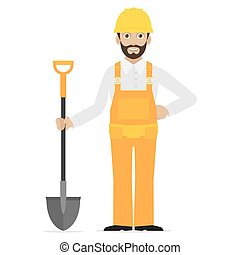 Builder holds in hand shovel - Illustration builder holds in...