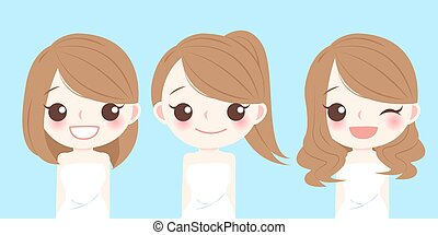woman with different hair style - cute cartoon woman with...