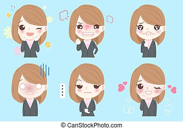 business woman emoji set - cartoon business woman do...
