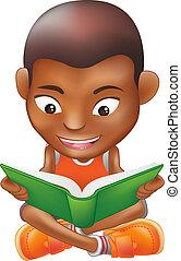 boy reading a book - Illustration of a black boy reading a...