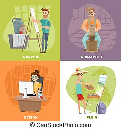 Graphic Designer Artist 4 Icons Square
