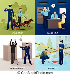 Police Service 4 Flat Icons Square - Police officers work 4...