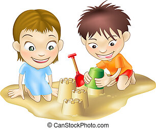 two children playing in the sand - A illustration of two...