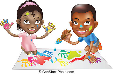two children playing with paint - illustration of two ethnic...