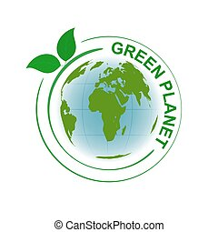 Green planet vector symbol with map and green leaves.