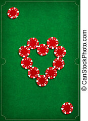 The poker chips on green background in the image of card