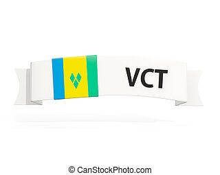Flag of saint vincent and the grenadines on banner and...
