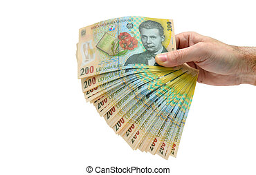romanian money hand isolated over white background