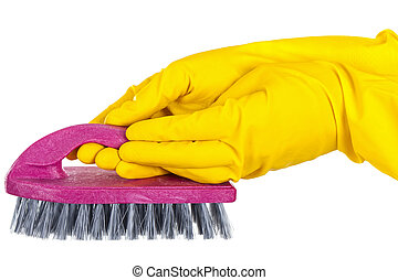 Purple cleaning brush & yellow gloves