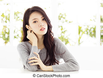 closeup  young asian woman face