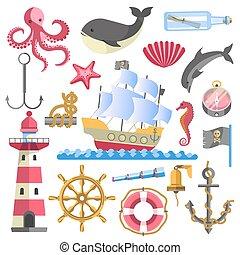 Marine Theme Traditional Sea Elements on White - Marine...