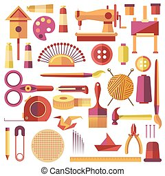 Equipments Vector Poster for Sewing and Handmade -...