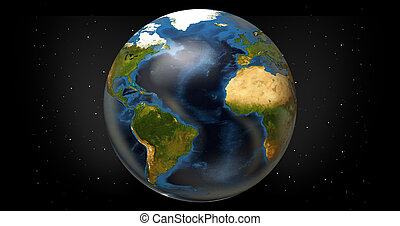 planet earth 3d render. Elements of this image furnished by NASA.
