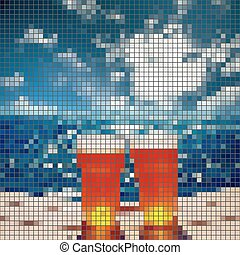 frosty glass of beer,sea, mosaic vector