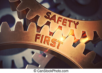 Golden Gears with Safety First Concept. 3D Illustration.