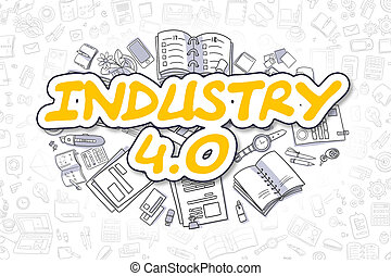 Industry 4.0 - Cartoon Yellow Word. Business Concept. -...