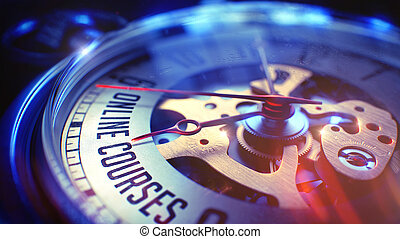 Online Courses - Phrase on Vintage Pocket Clock. 3D Render....