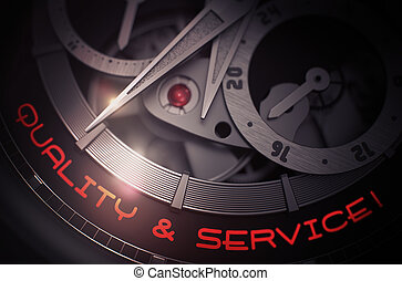 Quality And Service on Old Wristwatch Mechanism. 3D. -...