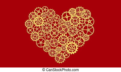 Heart with gears Isolated on red background. Full HD