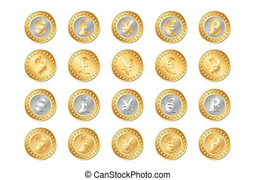 vector illustration of gold and silver coins