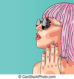 vector beautiful woman wearing pink wig and sunglasses