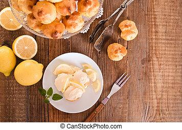 limão,  Profiteroles