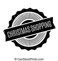 Christmas Shopping rubber stamp. Grunge design with dust...