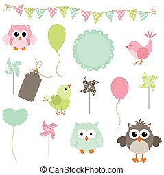 Digital birds and owls party - Scalable vectorial image...