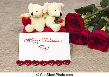 Postcard on Valentines day with roses and toy