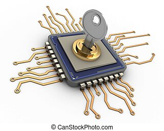 3d processor - 3d illustration of processor over white...