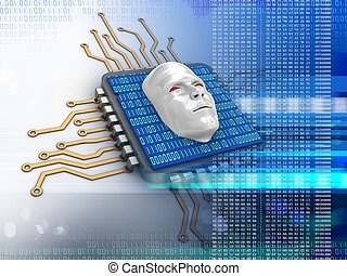 3d electronic microprocessor - 3d illustration of electronic...