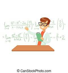 Boy Explaining Mathematic Formula, Kid Doing Math Science...