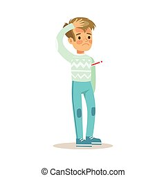 Sick Kid With Fever Feeling Unwell Suffering From Sickness Needing Healthcare Medical Help Cartoon Character