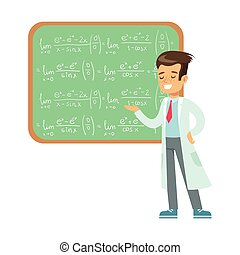 Boy Mathematician Writing Formulas On Blackboard, Kid Doing Math Science Research Dreaming Of Becoming Professional Scientist In The Future