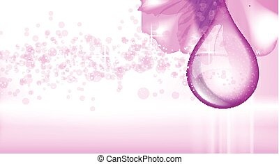Orchid flower fragrance background. Ads template, droplet mock up isolated on dazzling backdrop. Place for brand text. Glamorous waterdrops effects. Vector illustration