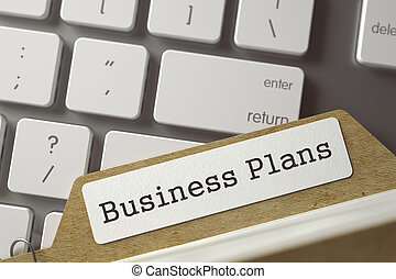 Index Card with Business Plans. 3D. - Business Plans written...