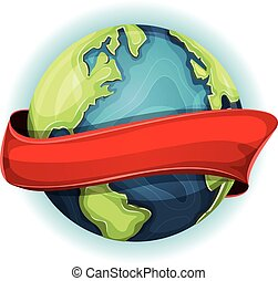Earth Planet With Ribbon - Illustration of a cartoon design...