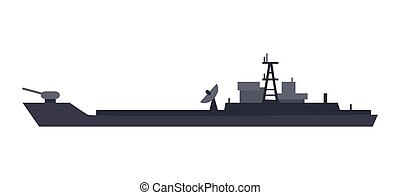 Coast Guard Cutter Flat Design Vector Illustration -...
