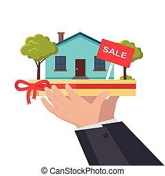 House Sale Concept Illustration in Flat Design. - House sale...
