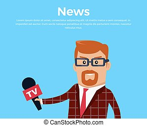 Breaking News Reporter Vector Illustration.