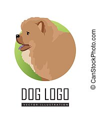 Dog Logo Vector Illustration Chow Breed Isolated - Dog logo...