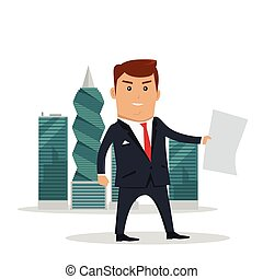 Panama Documents Concept Flat Vector Illustration - Man in...