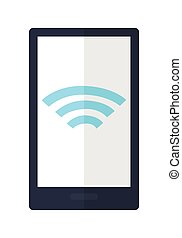 Mobile Phone with Wireless Sign Icon Isolated - Mobile phone...